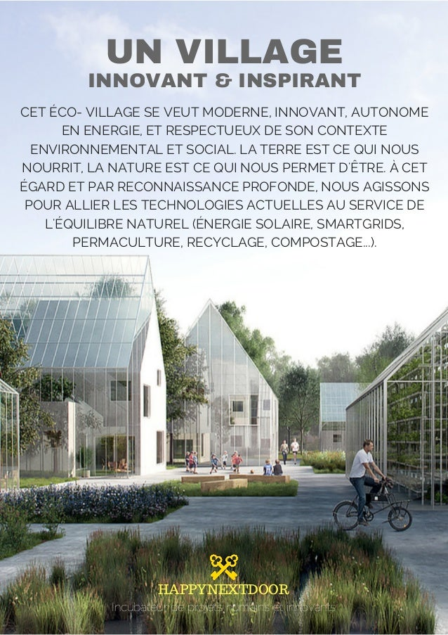 Projet de village innovant cologique for Idee service innovant