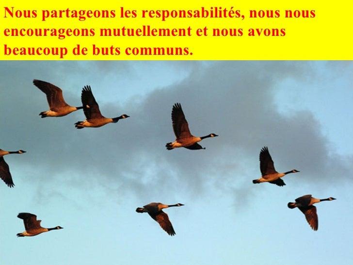 Nous partageons les responsabilités, nous nous encourageons mutuellement et nous avons beaucoup de buts communs.
