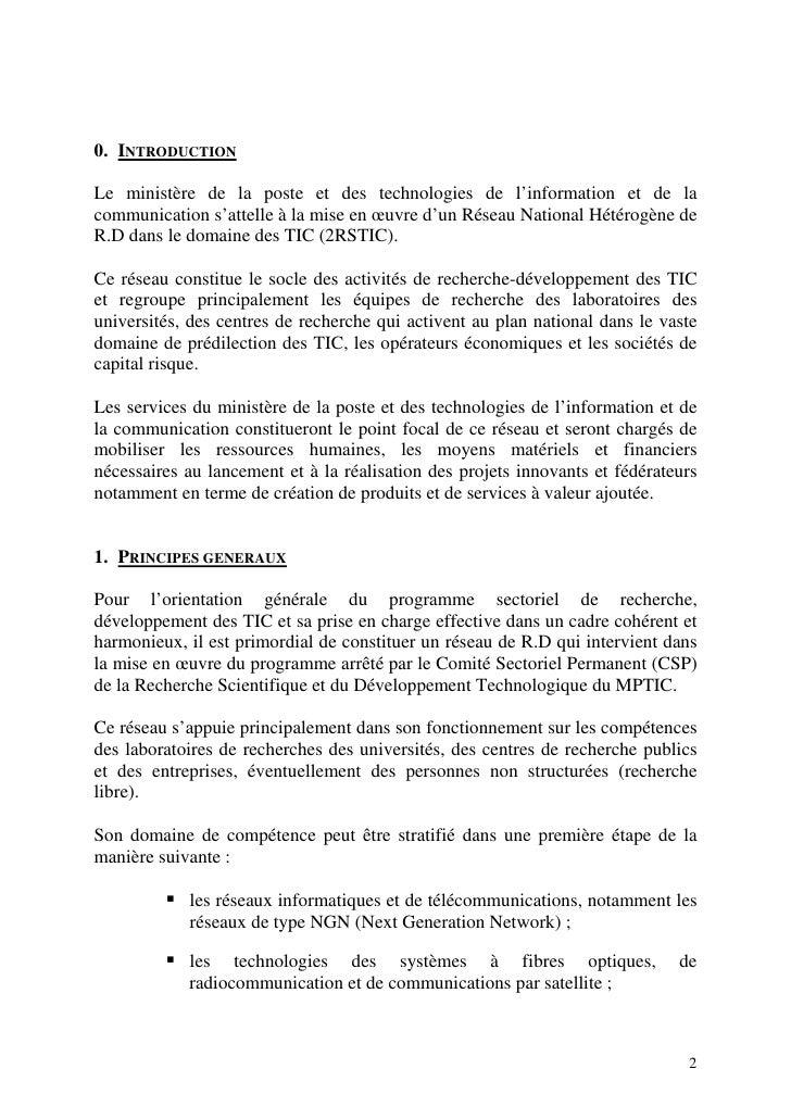 0. INTRODUCTION  Le ministère de la poste et des technologies de l'information et de la communication s'attelle à la mise ...