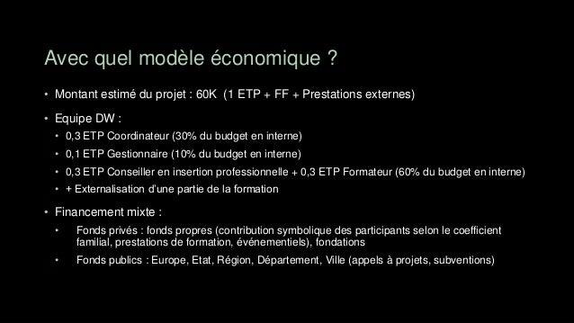 Avec quel modèle économique ?• Montant estimé du projet : 60K (1 ETP + FF + Prestations externes)• Equipe DW : • 0,3 ETP C...