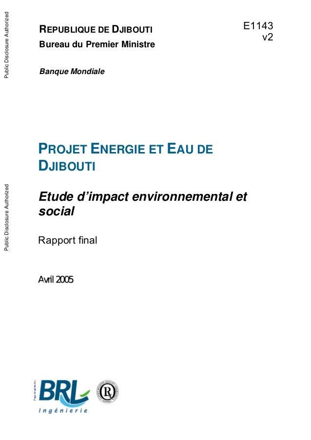 Pagedegarde.doc REPUBLIQUE DE DJIBOUTI Bureau du Premier Ministre Banque Mondiale PROJET ENERGIE ET EAU DE DJIBOUTI Etude ...