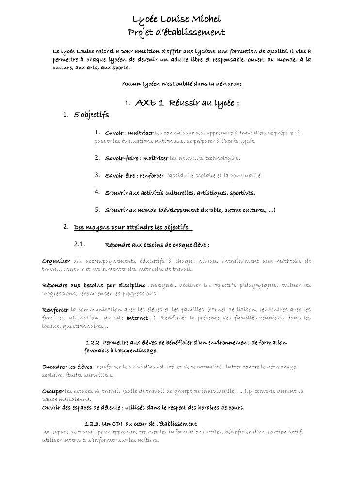 Lycée Louise Michel                                  Projet d'établissement     Le lycée Louise Michel a pour ambition d'o...