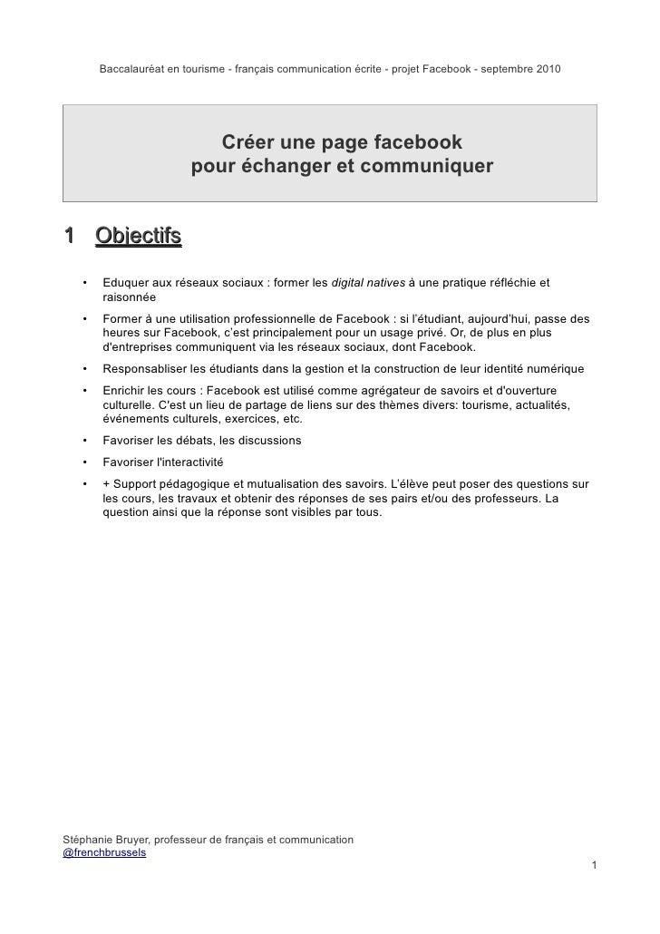 Baccalauréat en tourisme - français communication écrite - projet Facebook - septembre 2010                               ...