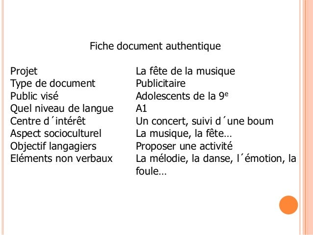 Fiche document authentiqueProjet La fête de la musiqueType de document PublicitairePublic visé Adolescents de la 9eQuel ni...