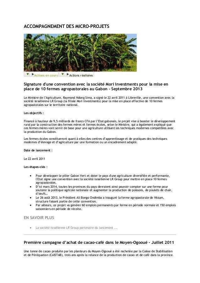 ACCOMPAGNEMENT DES MICRO-PROJETS Actions en cours Actions réalisées Signature d'une convention avec la société Mori Invest...