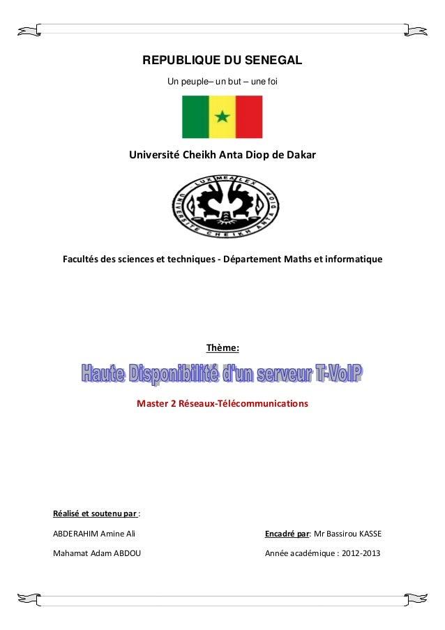 REPUBLIQUE DU SENEGAL                              Un peuple– un but – une foi                    Université Cheikh Anta D...