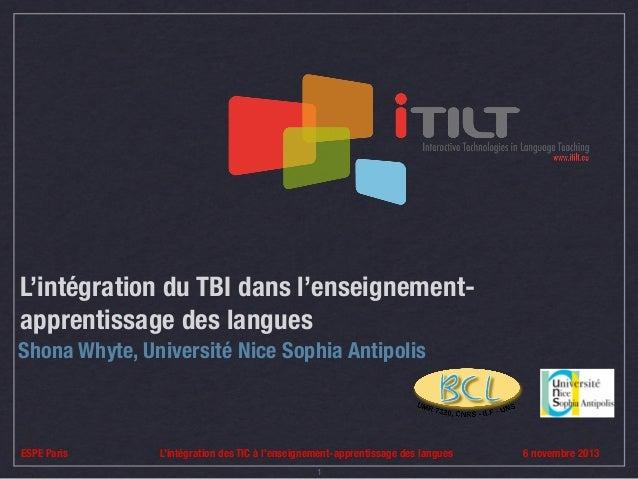 L'intégration du TBI dans l'enseignementapprentissage des langues Shona Whyte, Université Nice Sophia Antipolis  ESPE Pari...
