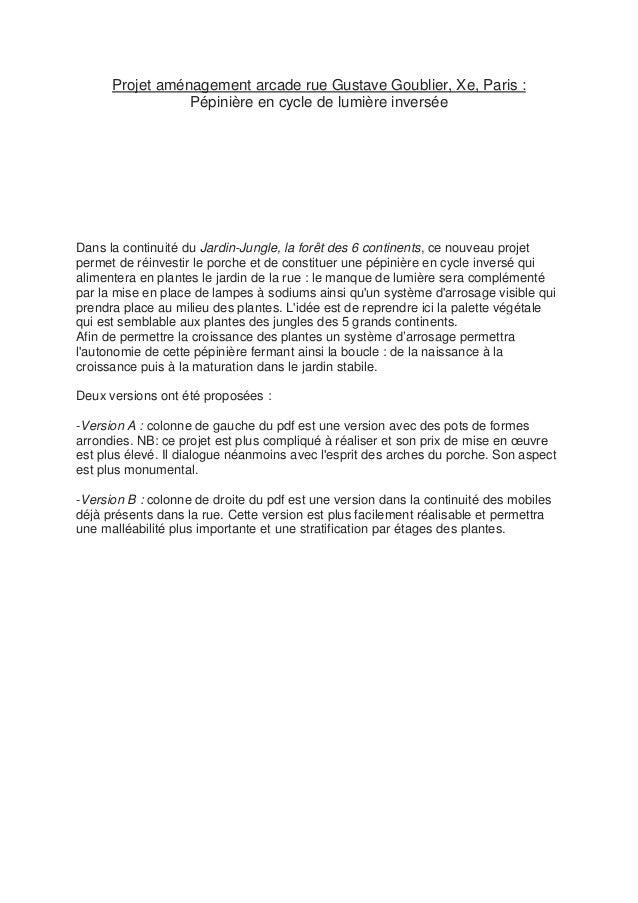 Projet aménagement arcade rue Gustave Goublier, Xe, Paris : Pépinière en cycle de lumière inversée Dans la continuité du J...