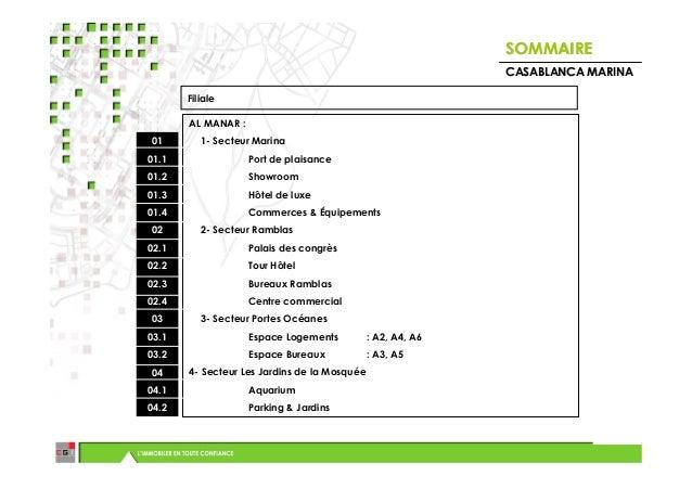 SOMMAIRE                                                             CASABLANCA MARINA       Filiale       AL MANAR :01   ...