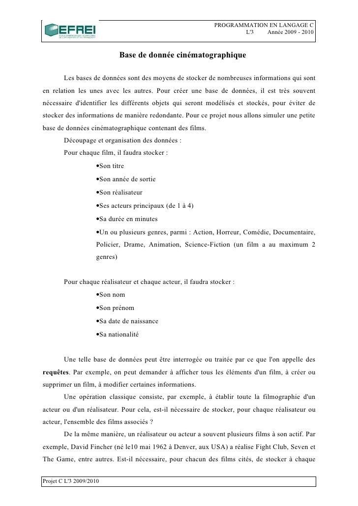 PROGRAMMATION EN LANGAGE C                                                                     L'3   Année 2009 - 2010    ...