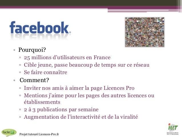 • Pourquoi? ▫ 25 millions d'utilisateurs en France ▫ Cible jeune, passe beaucoup de temps sur ce réseau ▫ Se faire connaît...