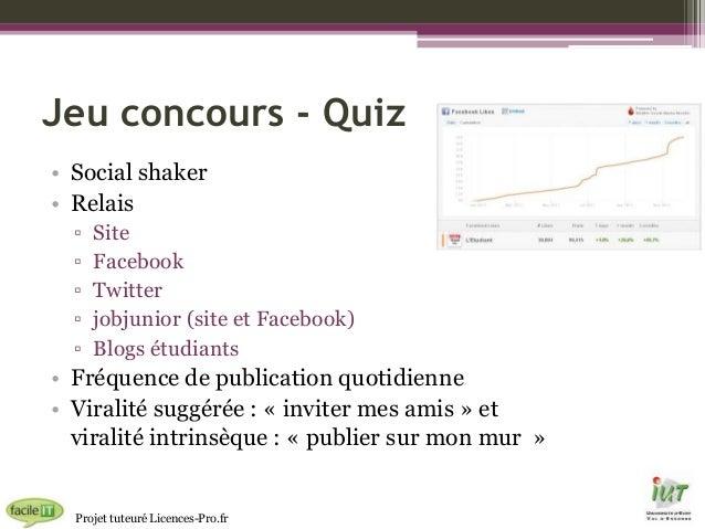 Jeu concours - Quiz • Social shaker • Relais ▫ ▫ ▫ ▫ ▫  Site Facebook Twitter jobjunior (site et Facebook) Blogs étudiants...