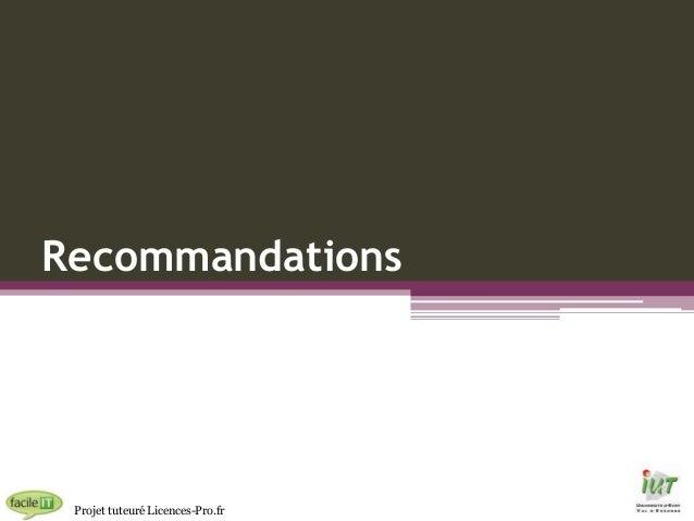 Recommandations  Projet tuteuré Licences-Pro.fr