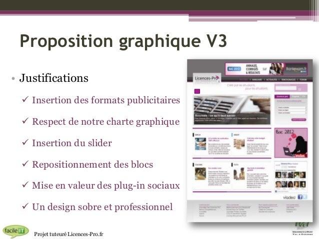 Proposition graphique V3 • Justifications  Insertion des formats publicitaires   Respect de notre charte graphique  Ins...