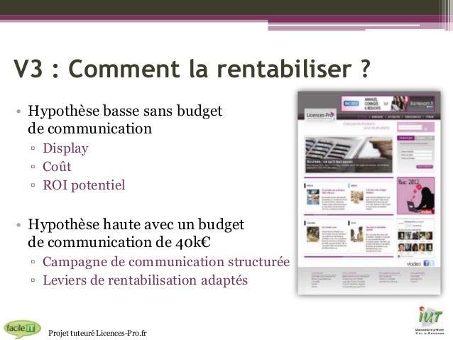 V3 : Comment la rentabiliser ? • Hypothèse basse sans budget de communication ▫ Display ▫ Coût ▫ ROI potentiel  • Hypothès...