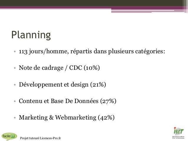 Planning • 113 jours/homme, répartis dans plusieurs catégories: • Note de cadrage / CDC (10%) • Développement et design (2...
