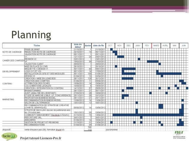 Planning  Projet tuteuré Licences-Pro.fr