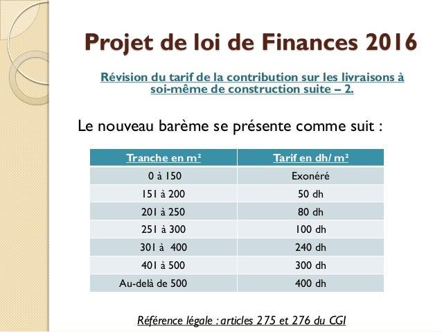 Projet loi de finances 2016 for Loi sur les constructions