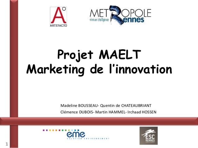 Projet MAELT    Marketing de l'innovation         Madeline BOUSSEAU- Quentin de CHATEAUBRIANT         Clémence DUBOIS- Mar...