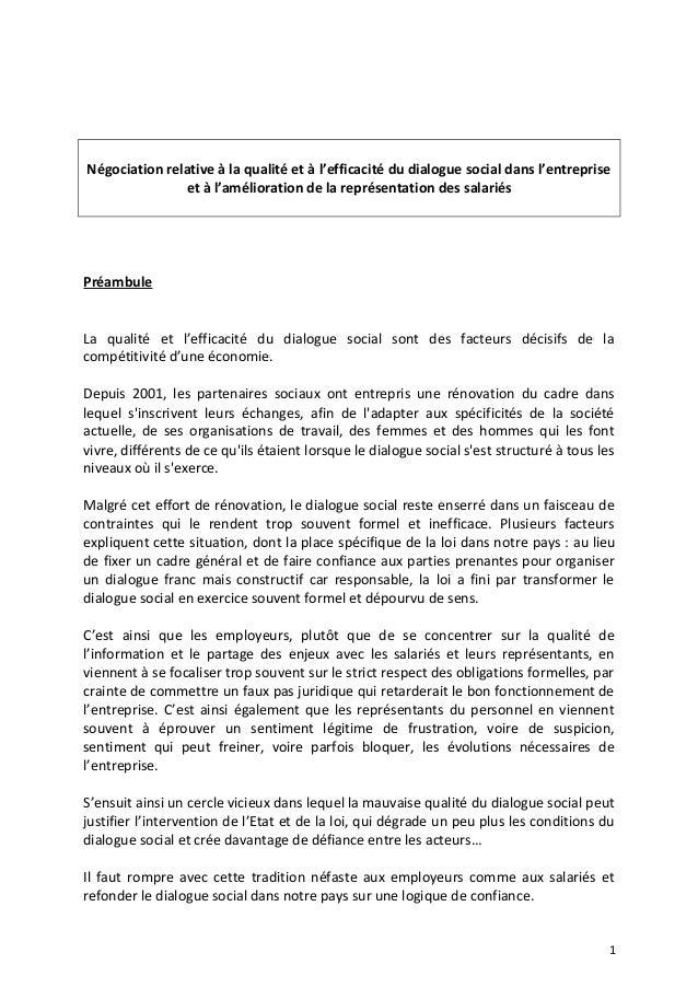 Négociation relative à la qualité et à l'efficacité du dialogue social dans l'entreprise et à l'amélioration de la représe...