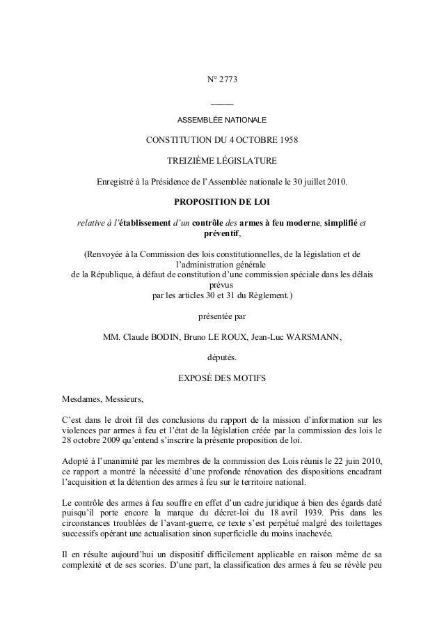 N° 2773 _____ ASSEMBLÉE NATIONALE CONSTITUTION DU 4 OCTOBRE 1958 TREIZIÈME LÉGISLATURE Enregistré à la Présidence de l'Ass...