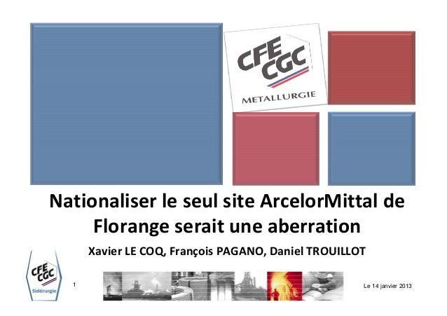 Nationaliser le seul site ArcelorMittal de     Florange serait une aberration      Xavier LE COQ, François PAGANO, Daniel ...