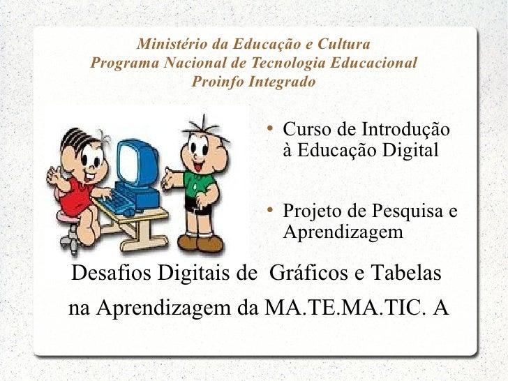 Ministério da Educação e Cultura  Programa Nacional de Tecnologia Educacional               Proinfo Integrado             ...