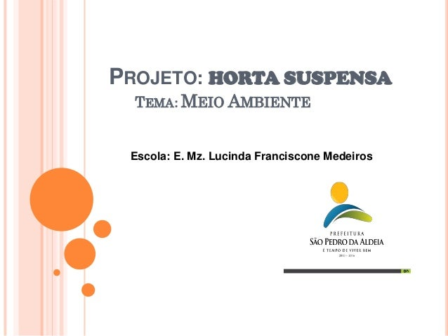 PROJETO: HORTA SUSPENSA TEMA: MEIO AMBIENTE  Escola: E. Mz. Lucinda Franciscone Medeiros