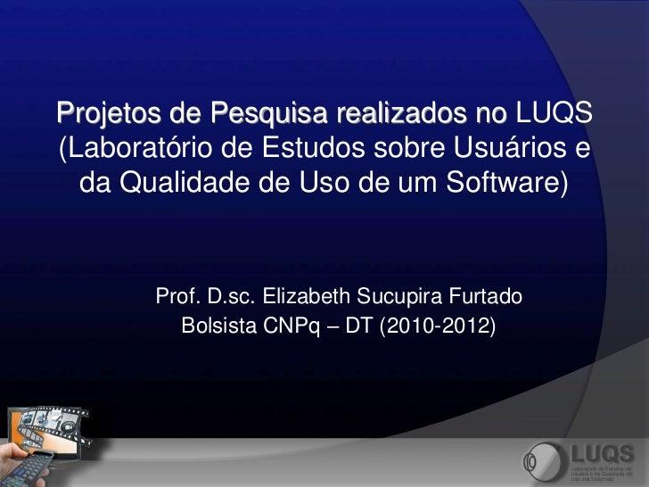 Projetos de Pesquisa realizados no LUQS(Laboratório de Estudos sobre Usuários e  da Qualidade de Uso de um Software)      ...
