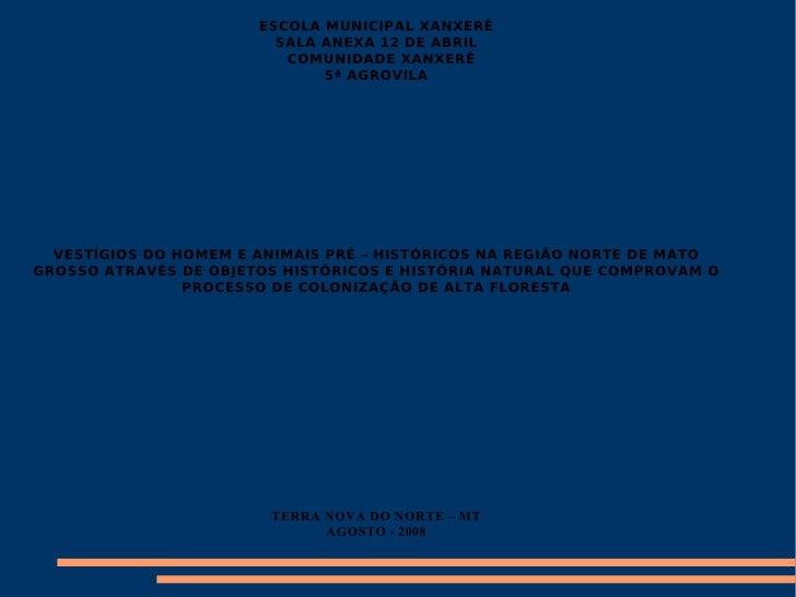 ESCOLA MUNICIPAL XANXERÊ SALA ANEXA 12 DE ABRIL COMUNIDADE XANXERÊ  5ª AGROVILA VESTÍGIOS DO HOMEM E ANIMAIS PRÉ – HISTÓRI...