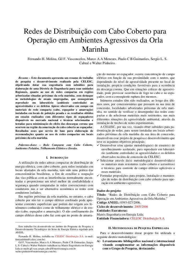 Redes de Distribuição com Cabo Coberto para        Operação em Ambientes Agressivos da Orla                         Marinh...