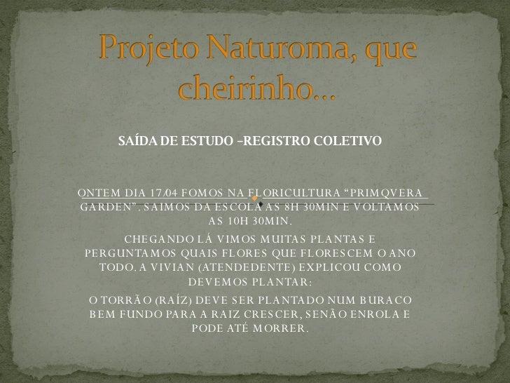 """SAÍDA DE ESTUDO –REGISTRO COLETIVO ONTEM DIA 17/04 FOMOS NA FLORICULTURA """"PRIMQVERA GARDEN"""". SAIMOS DA ESCOLA AS 8H 30MIN ..."""