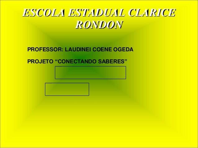 "ESCOLA ESTADUAL CLARICE  RONDON  PROFESSOR: LAUDINEI COENE OGEDA  PROJETO ""CONECTANDO SABERES"""