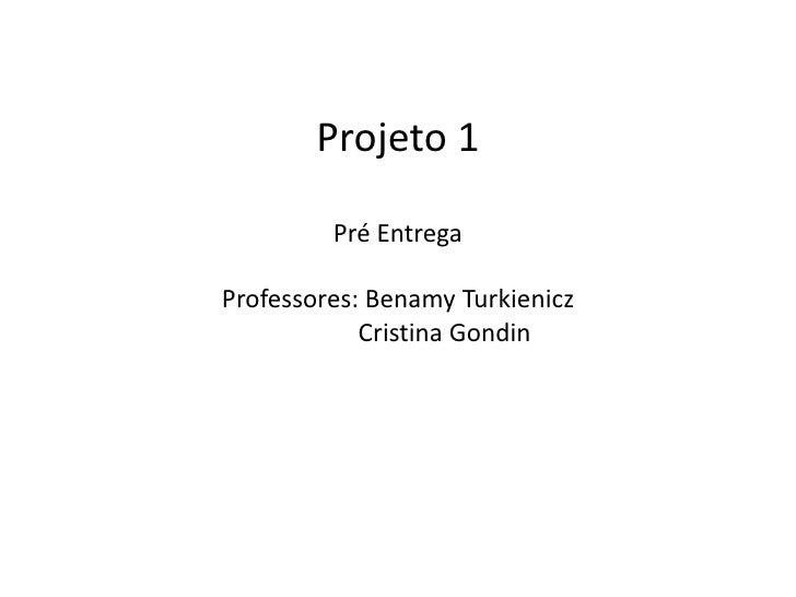 Projeto 1         Pré EntregaProfessores: Benamy Turkienicz            Cristina Gondin