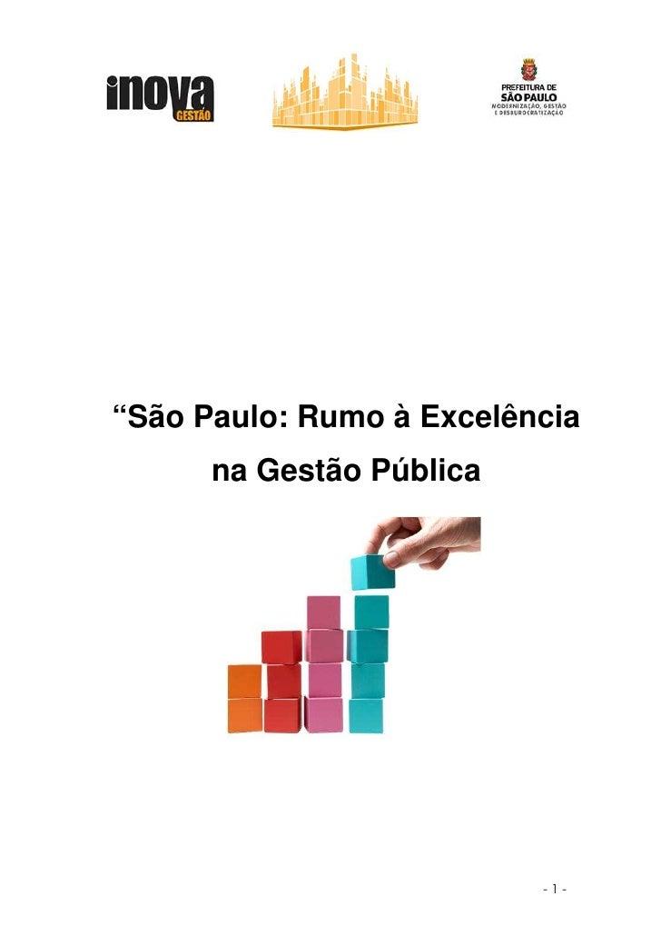 """""""São Paulo: Rumo à Excelência       na Gestão Pública                               -1-"""