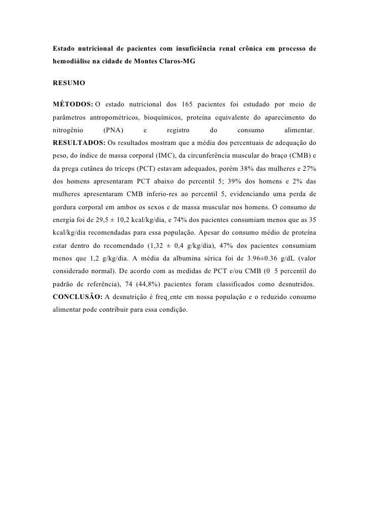 Estado nutricional de pacientes com insuficiência renal crônica em processo de hemodiálise na cidade de Montes Claros-MG  ...