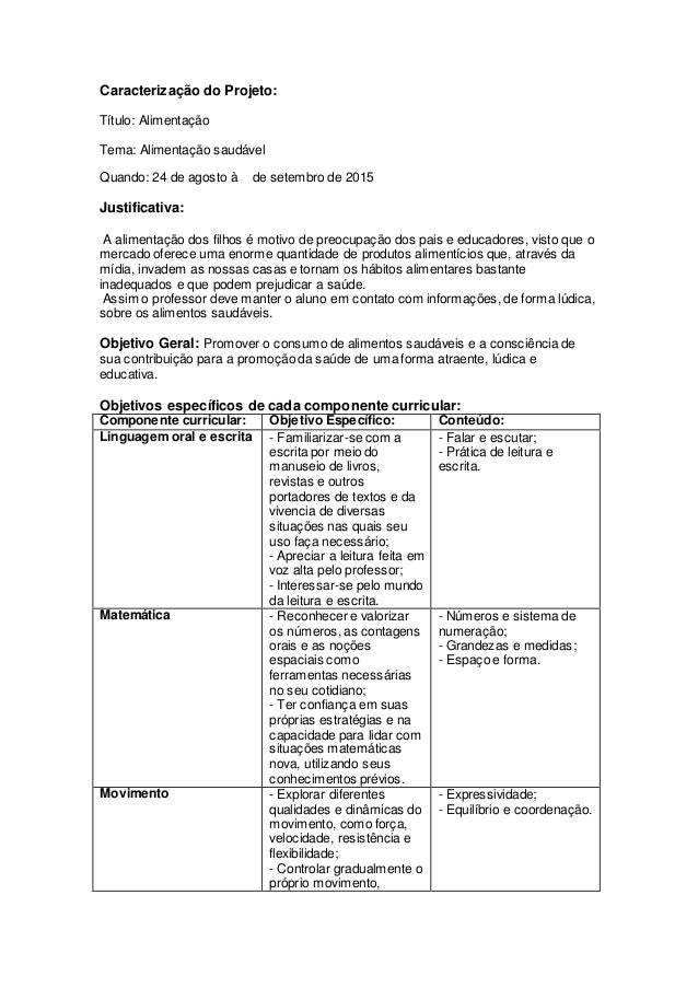 Caracterização do Projeto: Título: Alimentação Tema: Alimentação saudável Quando: 24 de agosto à de setembro de 2015 Justi...
