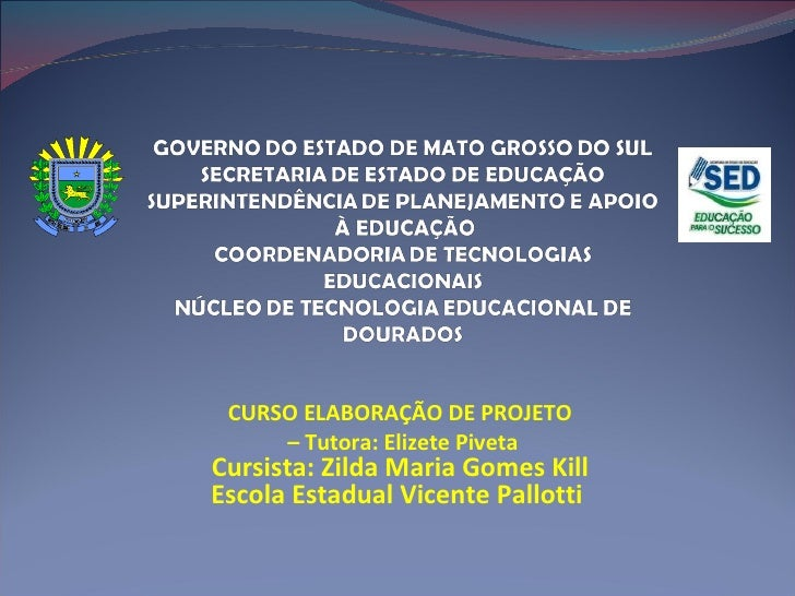CURSO ELABORAÇÃO DE PROJETO –  Tutora: Elizete Piveta Cursista: Zilda Maria Gomes Kill Escola Estadual Vicente Pallotti