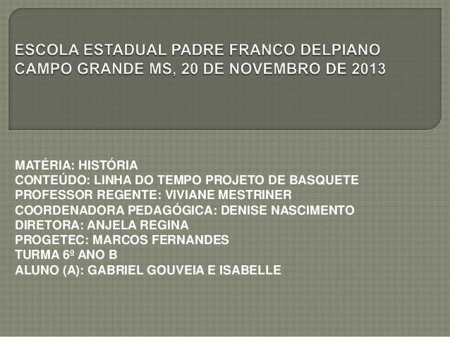 MATÉRIA: HISTÓRIA CONTEÚDO: LINHA DO TEMPO PROJETO DE BASQUETE PROFESSOR REGENTE: VIVIANE MESTRINER COORDENADORA PEDAGÓGIC...