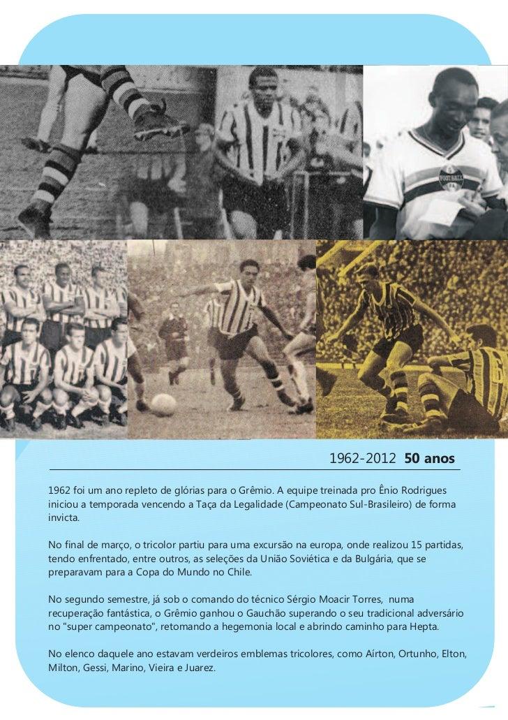 1962-2012 50 anos1962 foi um ano repleto de glórias para o Grêmio. A equipe treinada pro Ênio Rodriguesiniciou a temporada...