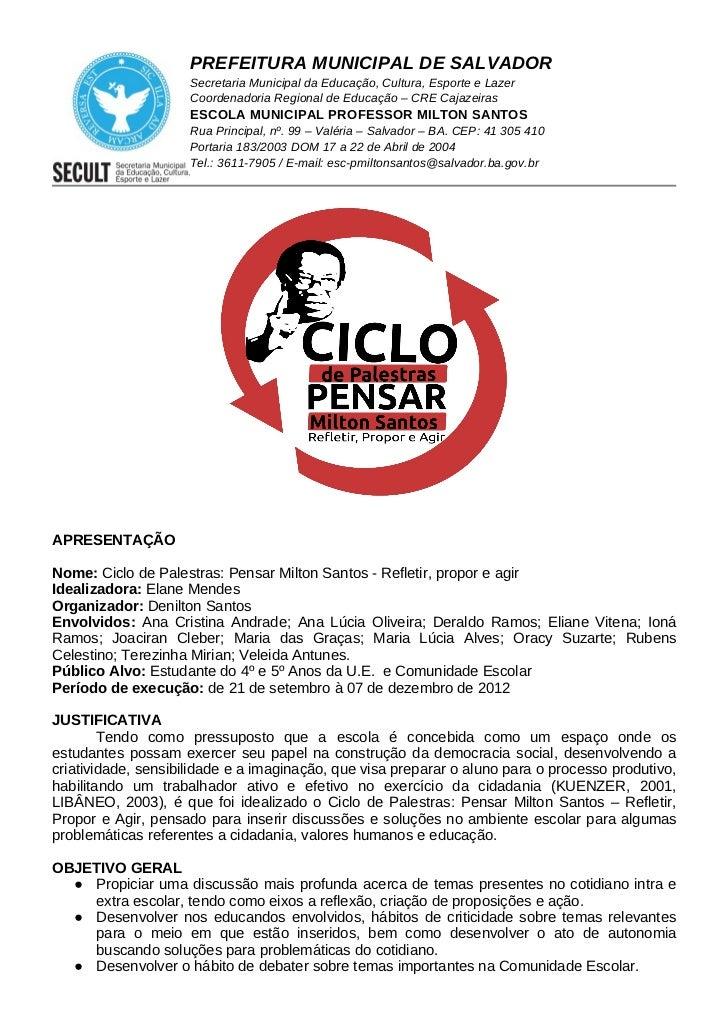 PREFEITURA MUNICIPAL DE SALVADOR                     Secretaria Municipal da Educação, Cultura, Esporte e Lazer           ...