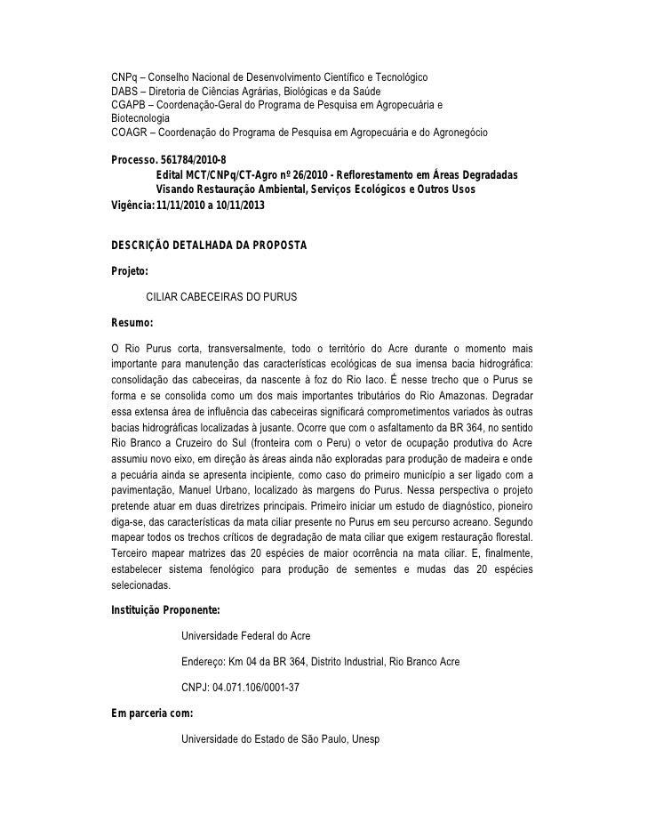 """CNPq – Conselho Nacional de Desenvolvimento Cient•fico e Tecnol'gicoDABS – Diretoria de Ciƒncias Agr""""rias, Biol'gicas e da..."""