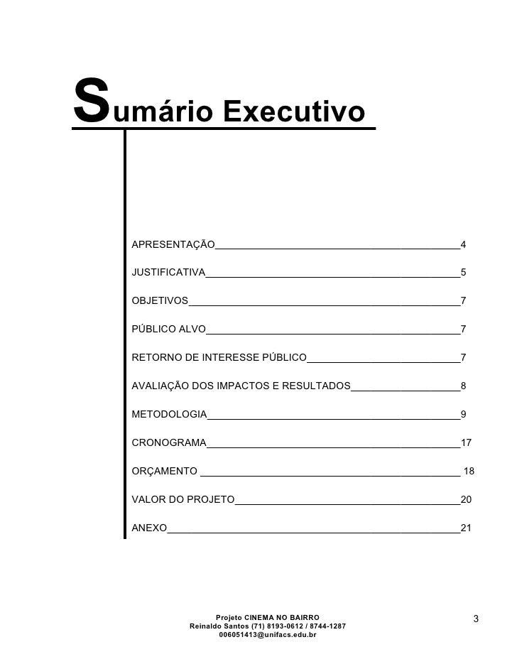 Sumário Executivo   APRESENTAÇÃO                                             4   JUSTIFICATIVA                            ...