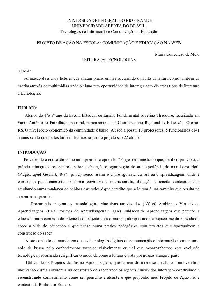 UNIVERSIDADE FEDERAL DO RIO GRANDE                              UNIVERSIDADE ABERTA DO BRASIL                        Tecno...
