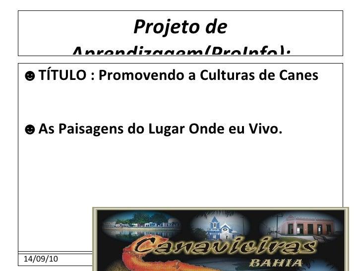 Projeto de Aprendizagem(ProInfo): ☻ TÍTULO : Promovendo a Culturas de Canes ☻ As Paisagens do Lugar Onde eu Vivo.