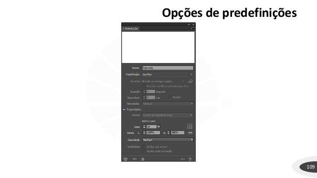 Opções de predefinições 109