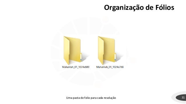 Organização de Fólios 31Uma pasta de folio para cada resolução