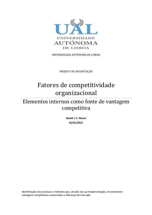 UNIVERSIDADE AUTÓNOMA DE LISBOA                              PROJETO DE DISSERTAÇÃO            Fatores de competitividade ...