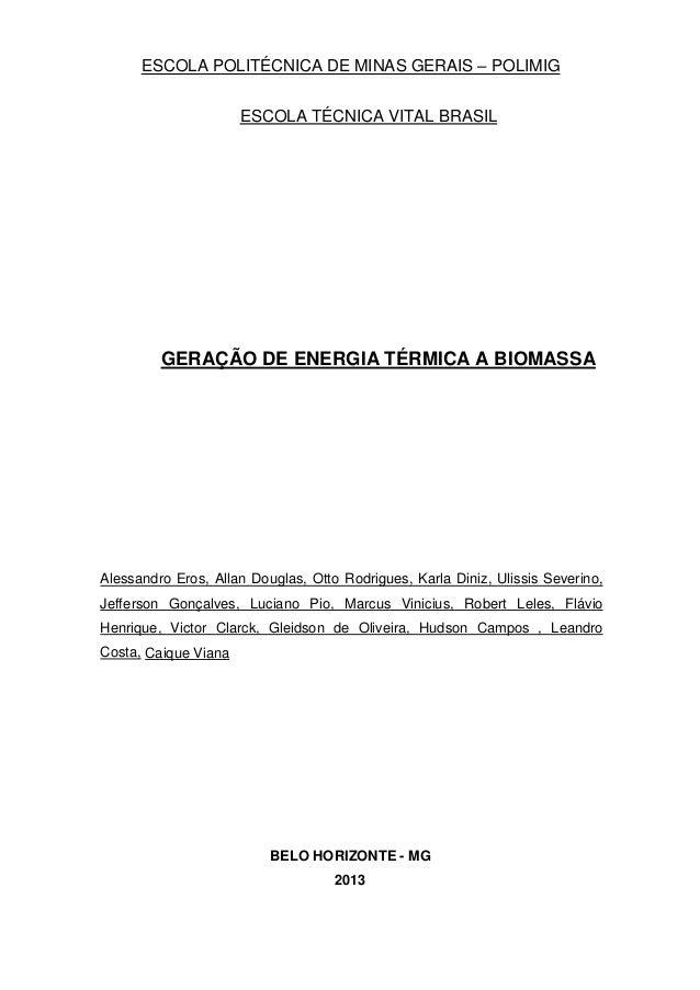 ESCOLA POLITÉCNICA DE MINAS GERAIS – POLIMIG ESCOLA TÉCNICA VITAL BRASIL GERAÇÃO DE ENERGIA TÉRMICA A BIOMASSA Alessandro ...