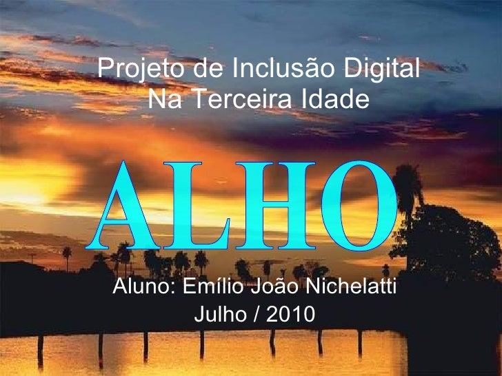 Projeto de Inclusão Digital Na Terceira Idade Aluno: Emílio João Nichelatti Julho / 2010 ALHO